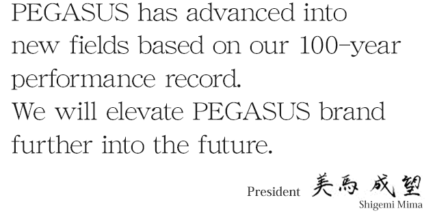 PEGASUS has advanced into new fields based on our 100-year performance record.  We will elevate PEGASUS brand further into the future.