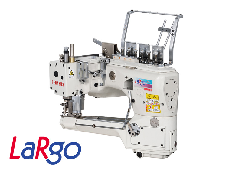 FS700P-A :Equipped with a right and left independent differential feed adjustment mechanism, Oil Barrier type, 4-needle, feed-off-the-arm, interlock stitch machines for flat seaming